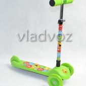 Детский самокат регулируется ручка 4kids scooter до 30кг салатовый от 3-х лет