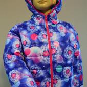 Деми куртка яркий принт для девочки