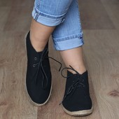 Эспадрильи черного цвета на шнуровке