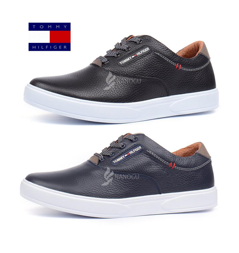 0c1bb56bfead Кеды слипоны мужские кожаные Tommy Hilfiger синие и черные на шнуровке