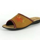 100-083 Женские домашние тапочки Inblu, цвет-светло коричневый, материал-велюр