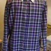 рубашка серо-фиолетовая в клетку WE Размер L 100%котон