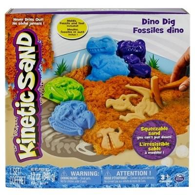 Песок для детского творчества - kinetic sand dino (голубой, коричневый, формочки, окаменелости,340г) фото №1