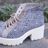 Италия. Стильные женские ботинки. Кожа /коттон.