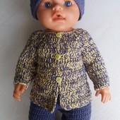 Комплект одежды Желто-фиолетовый для пупсов типа Беби Борн-ручная работа.