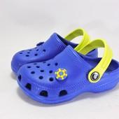 116131Кроксы для мальчика. Синие с желтым.