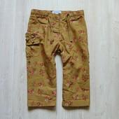 Лёгкие летние штаники в цветочный принт для модницы. Vertbaudet. Размер 12-18 месяцев