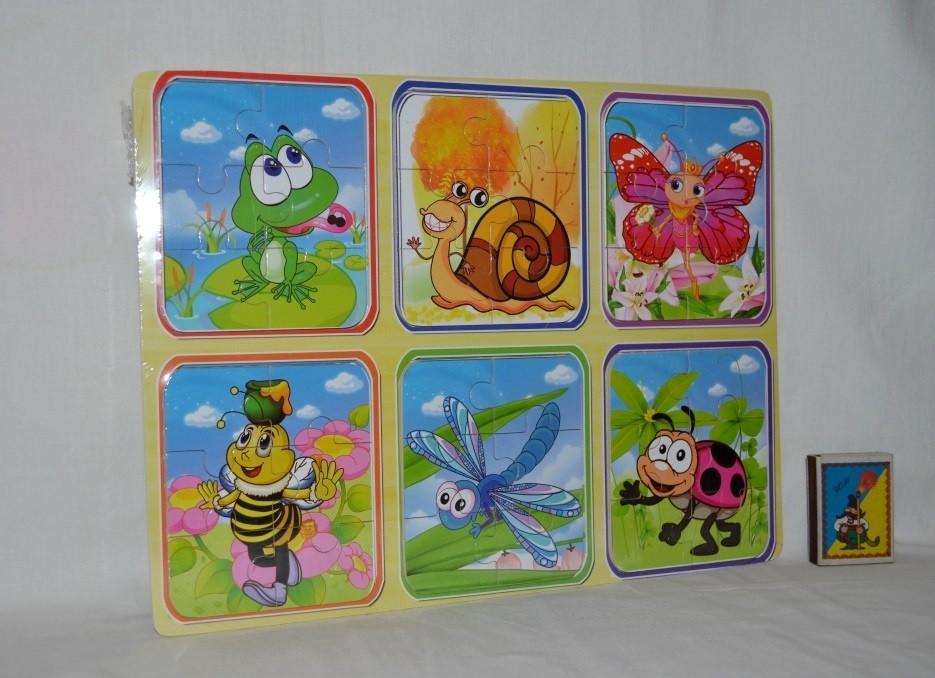 Деревянная игрушка пазлы микс видов разные на одной планшетке насекомые формат а4 фото №1