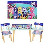 """Детский деревянный столик с двумя стульчиками """"My Little Pony/Литл Пони"""": 60х40см"""