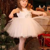 Прокат платье белое бальное Снежинка на 2-3-4 года,+ корона, Киев