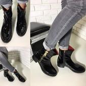 Ботинки натуральный лак люкс качество
