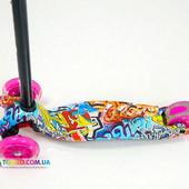 Детский самокат трехколесный с цветными светящимися колесами Бест Скутер (Best Scooter) Maxi