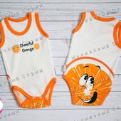 Бодик Апельсин 56 62 размер, на мальчика девочку 1 3 месяца Турция 100% хлопок боди