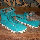 Комфортные Стильные кеды ботиночки Стелька=20 см. Бирюза