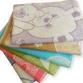 Детское байковое одеяло, разные расцветки 110х140 см