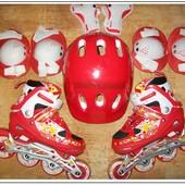 Детские раздвижные ролики 29-32 со шлемом и защитой!