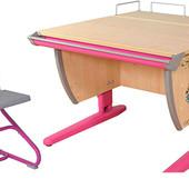 Парта с полкой под монитор и стул, клен/розовый с рисунком (цветы) Д-20031095