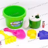 Песочный набор, 6 предметов, зеленое ведерко, лейка грабли лопатка пасочки, для песочницы