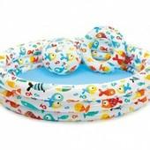 """Надувной бассейн """"Рыбки"""" Intex 220 литров с мячом и кругом."""