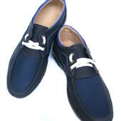 40 р Мужские туфли мокасины сетка П-31С-Ч
