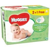 Влажные салфетки Huggies Natural Care 2+1 (56 х 3 шт.)
