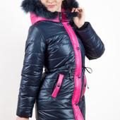 Куртка-парка зимняя для девочки с натуральным мехом