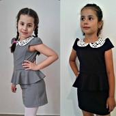 Школьный сарафан с воланом, цвет серый, черный и синий