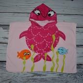 Фирменное Детское полотенце - пончо плотное махровое С капюшоном Рыбка