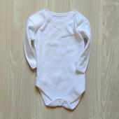 Белоснежный бодик с длинным рукавом для новорожденных. George. Размер 0-1 месяц