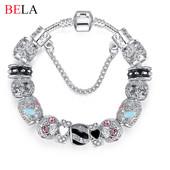 Потрясающие браслеты в стиле Пандора - посеребрение, эмаль, кристаллы -20см