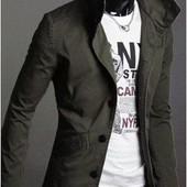 Стильная куртка - пиджак из плотной х/б ткани олива