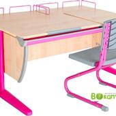 Гарантия! Парта Дэми  + стул + 2 полки задних клен танзай розовая (Д-20031247)