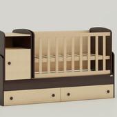 Детская кроватка трансформер Oris Marica комбинированный венге