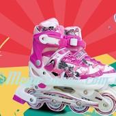 Ролики раздвижные с алюминиевой рамой Swift, розовый: 31-35, 34-38 размер, мягкие PU колеса