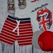 9 - 12 месяцев 80 см Next некст фирменные шортики шорты мальчику моднику