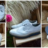 Стильные мужские лаковые туфли-броги,р-р 44