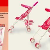 Акция - Коляска для кукол-металлическая с поворотными передними колесами, козырек, корзина д
