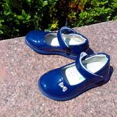 Туфли лаковые для девочки  фирма Jong Golf  размер 23-30 синего цвета