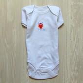 Белоснежный бодик с коротким рукавом для новорожденного. Early Days. Размер 0-1 месяц, будет дольше.