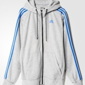 Джемпер Adidas sport essentials 3-stripes fleece hoodie grey оригинал