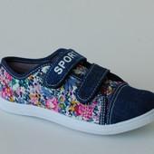Litto арт.626-13 джинс.цветы Кеды для девочек.