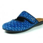 100-14-004 Тапочки женские домашние, материал-велюр, цвет-синий, размеры 36-41, Инблу