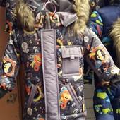 Детские зимние цветные комбинезоны -тройка Тачки для мальчиков 1-4 года