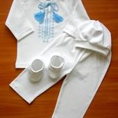 Трикотажный вышитый костюм для крещения ребенка Бесплатная доставка