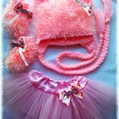 шапочка костюм вязаный для новорожденной до 1 месяца