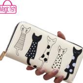 Стильный кошелек c кошками с искусственной кожи, 2 цвета, новый