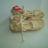 Туфли на танкетке, текстильные босоножки,  размер 28, стелька 17-17,5 см