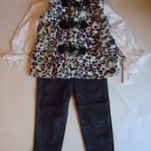Классный комплект 3в1 леггинсы, блузочка, жилетка США на девочку 12-18 мес