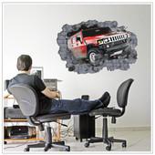 Интерьерные 3D наклейки на стену. Машина  джип.
