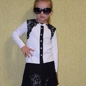 Школьная блуза, хлопок с ажурной отделкой 116-146 см
